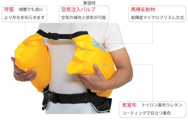 WR-1_1_1、腰巻タイプ、ウェストタイプ、膨張時、ライフジャケット、黄色、イエロー